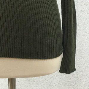 Per Se Tops - Per Se Olive Green Half Zip Front Top Size Small